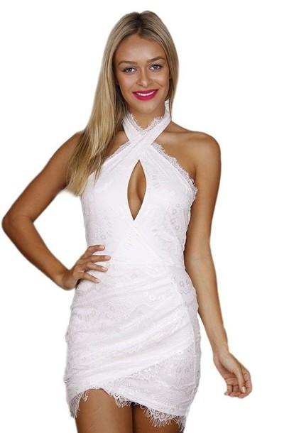 white dress white lace dress cross front dress bare back dress mini dress white mini www.ustrendy.com
