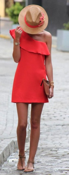 dress sundress one shoulder red dress