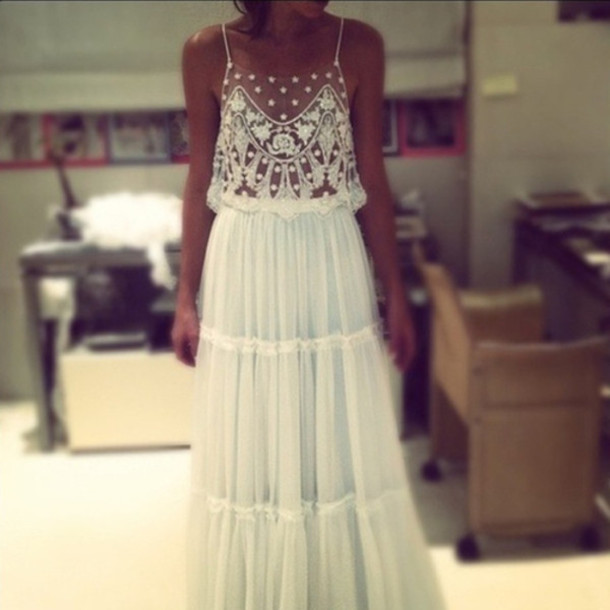 Dress: white, application, maxi dress, silk, cute, beautiful ...