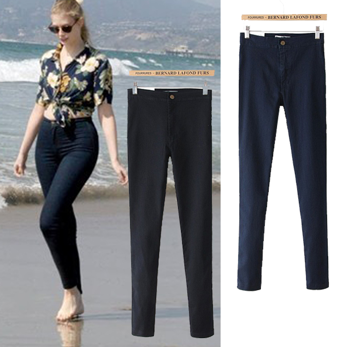 Women sexy slim hip slim high waist elastic skinny jeans pants women high street summer pencil jeans new 2013 denim pants -inJeans from Apparel & Accessories on Aliexpress.com