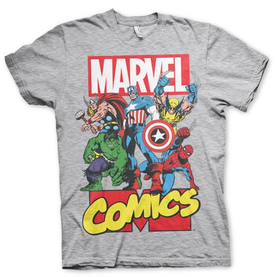 Marvel Comics Heroes T-Shirt (H.Grey) - Hybris Online | T-shirt Wholesale