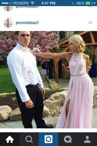 dress lace dress slit dress prom dress jewels high neck pink dress