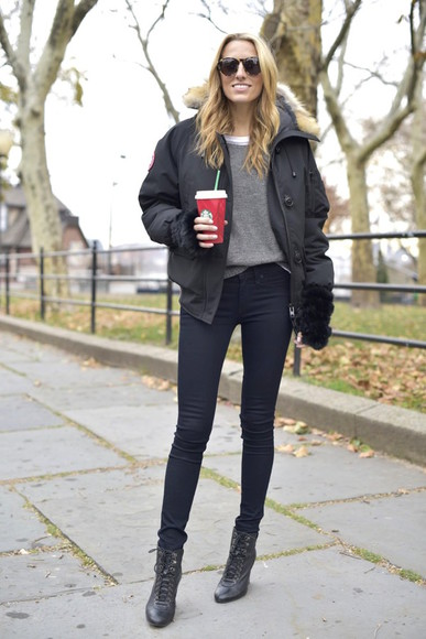 black boots skinny jeans sunglasses mind body swag blogger gloves down jacket