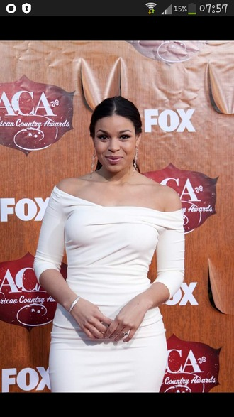 dress white dress white glamour jordin sparks all white everything celebrity style celebrity off the shoulder classy dress cocktail drss red carpet dress red carpet celebstyle for less bodycon bodycon dress cute dress girly dress romantic dress romantic summer dress