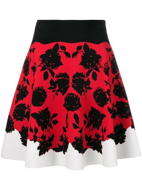 Alexander Mcqueen skirt women spandex floral print red