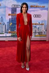 dress,laura harrier spider-man homecoming premiere red square neck long sleeve velvet dress