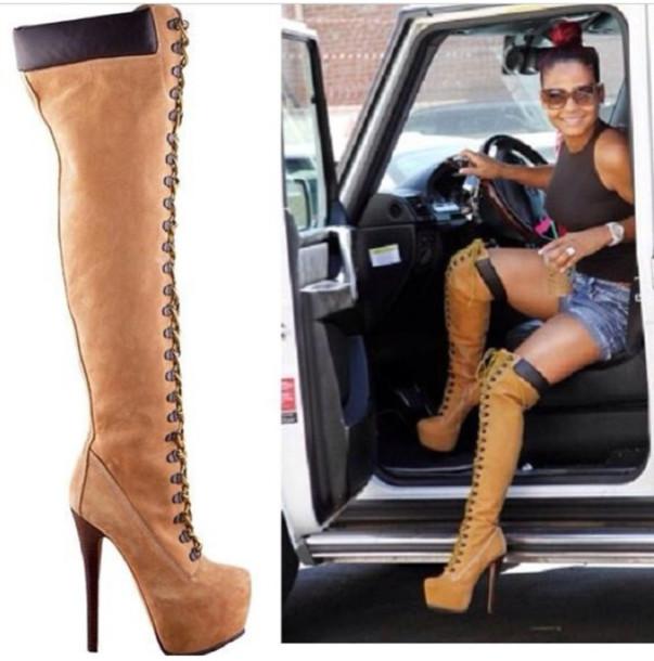 thigh high timberland heels for women
