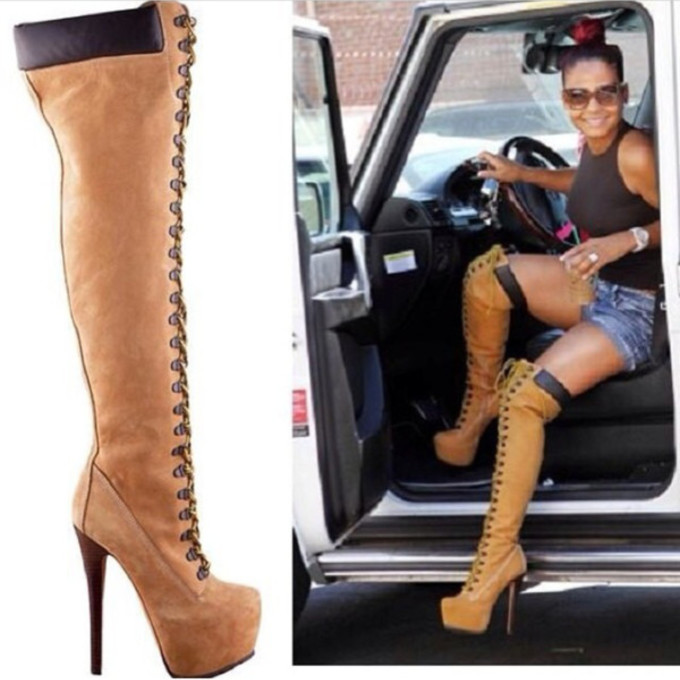 shoes timberland shorts crop tops heels thigh high boots