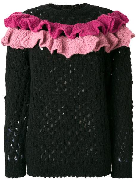 jumper ruffle women black wool knit sweater