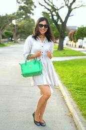 cecylia,blogger,white dress,handbag,green,ballet flats,coat,dress,sunglasses,bag,printed ballerinas,three-quarter sleeves,mini dress,spring outfits,spring dress,green bag