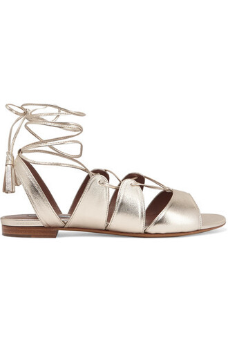 metallic sandals leather sandals lace gold leather shoes