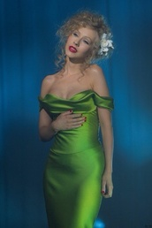 dress,green dress,long,silk dress,beautiful,off the shoulder,christina aguilera