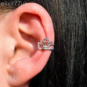 SILVER PRINCESS TIARA CROWN QUEEN EAR CUFF UPPER HELIX CARTILAGE CLIP-ON EARRING
