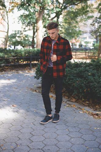 scout sixteen blogger jacket t-shirt flannel shirt menswear