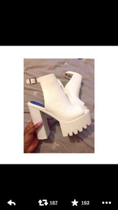 shoes,swag,cleated sole platforms,heels,white