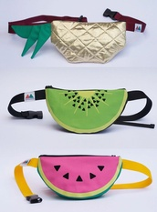 bag,fanny,fruits,fruit fashion,hipster,fanny pack,watermelon print,kiwi,pineapple print,pinapples,watermelon shirt,watermelons,travel