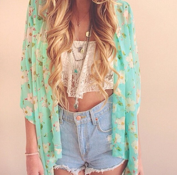 shorts denim top cardigan kimono lace shirt summer outfits crop tops coat clothes crochet green necklace vintage hipster girl hair look fashion jewels blue kimono floral jeans tank top cute white dress summer top please help.
