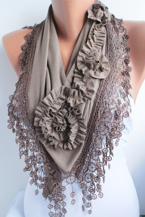 Brown Mocha Jersey Rose Shawl Scarve Scarf Cowl with by DIDUCI