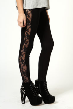 Esme lace side jersey leggings at boohoo.com