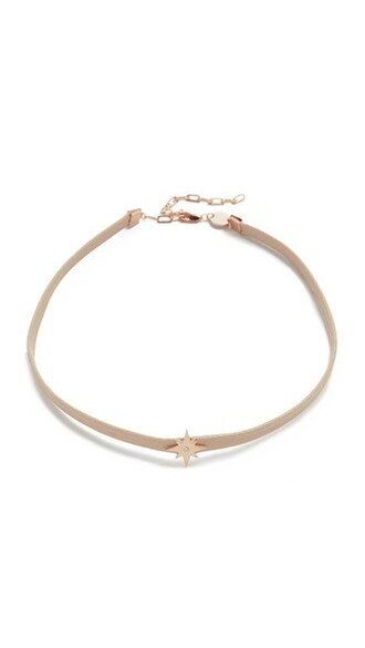 rose gold rose necklace choker necklace gold nude jewels
