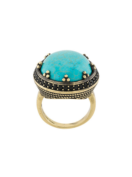 IOSSELLIANI women ring gold grey turquoise metallic jewels