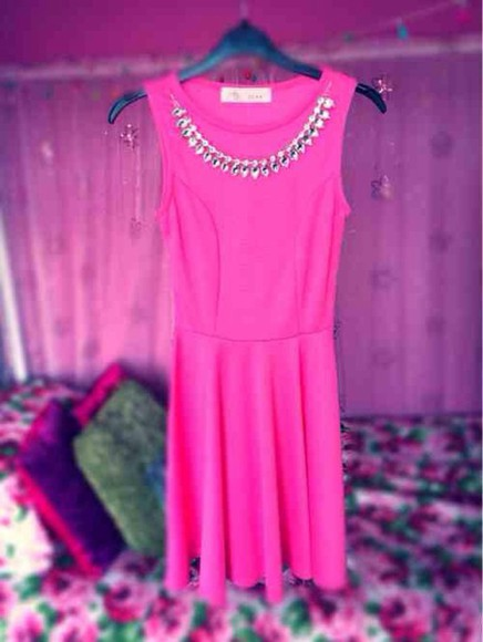 neon dress jewelry girly pink embellishment