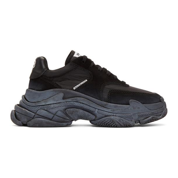 Balenciaga Black Diagonal Logo Triple S Sneakers