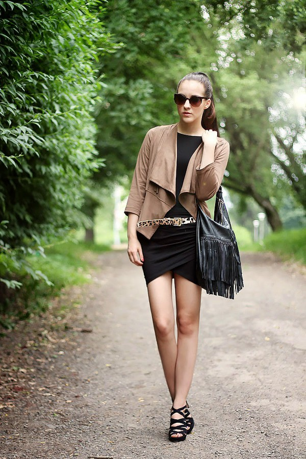 leona meliskova jacket skirt shoes bag sunglasses