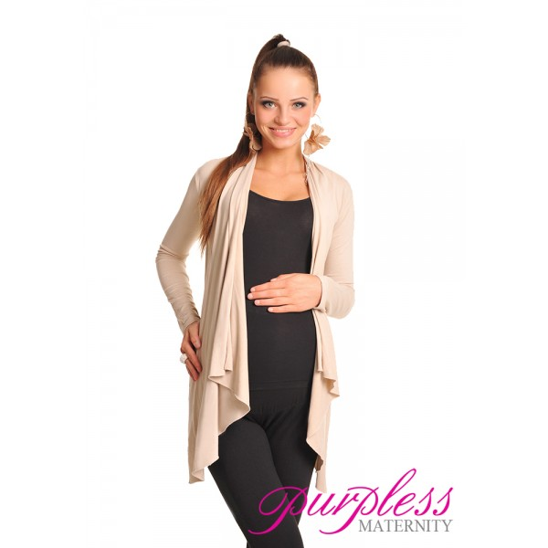 Waterfall Cardigan 4008 Beige - Purpless Maternity - nursing, pregnancy clothes, dresses, tops, tunics, cardigans, leggings