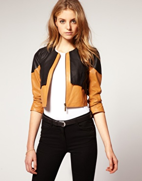 Asos 2 in 1 collarless leather jacket at asos