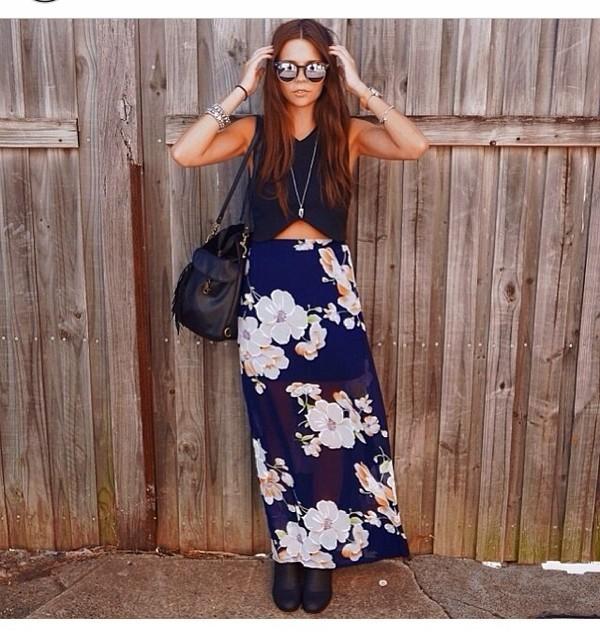 skirt maxi skirt floral floral skirt blouse sunglasses