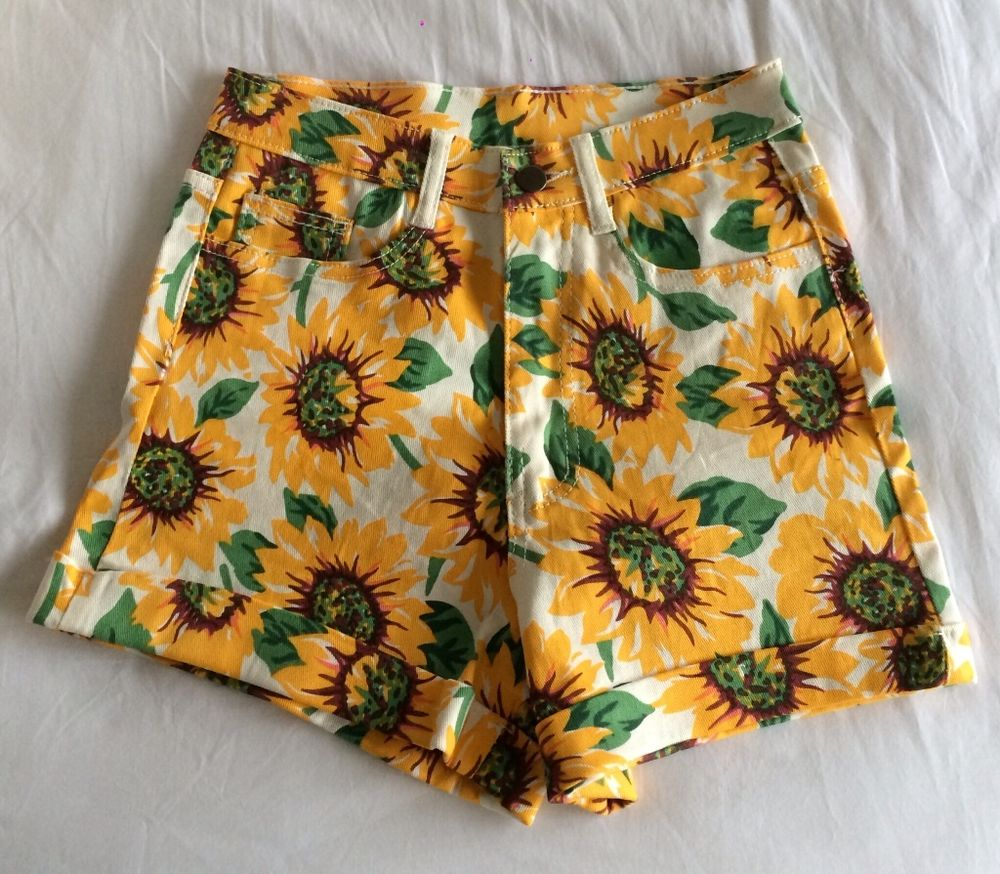 Women's high waist sunflower shorts w28