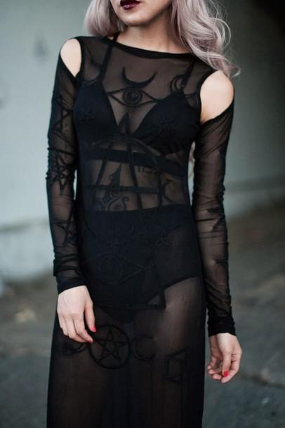 dress goth black sheer see through pentagram witch black dress magic spell designs halloween costume halloween glow in the dark dark