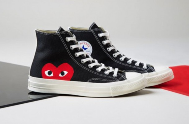 black high top converse with red heart