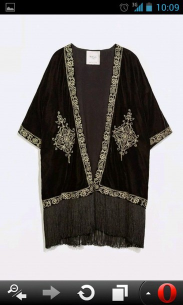 cardigan arabesque jacket kimono velvet fringes