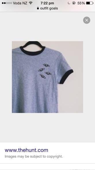shirt grey space outerspace top cute top planets tumblr tumblr clothes