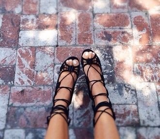 shoes black strappy shoes high heels black sandals lace up cute