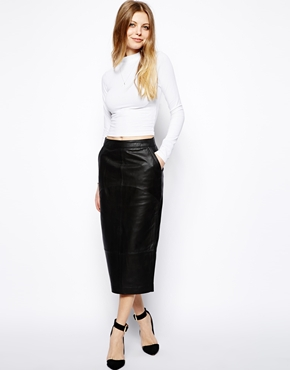 ASOS | ASOS Pencil Skirt in Leather at ASOS