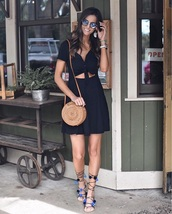 shoes,sandals,flat sandals,dress,sunglasses,bag,round bag,pom poms,black dress,mini dress