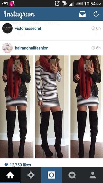 dress whiteandblackstriped dress and jacket ! shirt red black crop tops pants jacket