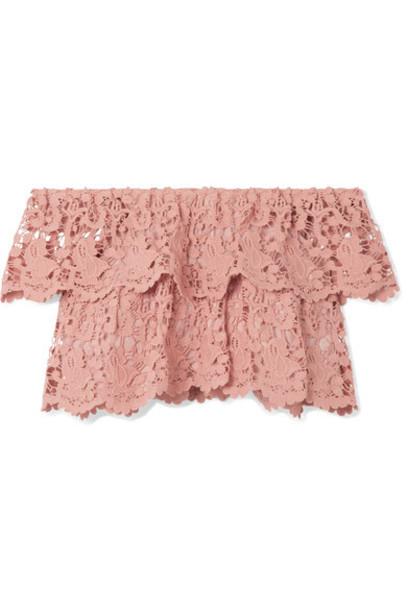 Miguelina top lace top cropped rose lace cotton