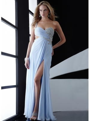 Buy Graceful Light Sky Blue One-shoulder Split Side Chiffon Prom Dress  under 200-SinoAnt.com