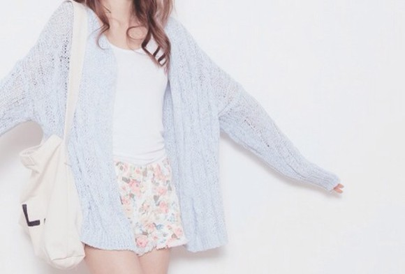 light pink cardigan light blue top loose fit