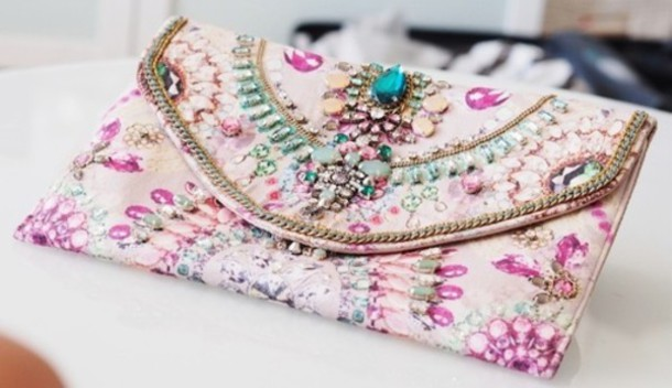 Bag: purse, clutch, bad, purple, pink, cream, floral, fashion ...