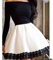 dress,black and white dress,mini dress,off the shoulder dress,long sleeve dress,party dress,homecoming dress,girly dress,cute dress,elegant dress,black,white,black and white,black dress,white dress