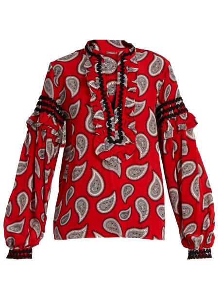 Dodo Bar Or blouse print silk paisley red top