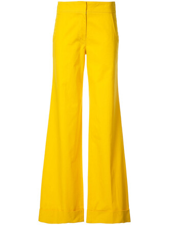 women cotton yellow orange pants