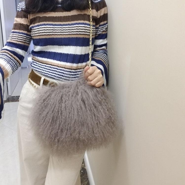 Grey Faux Fur Handbag Fringe Bag