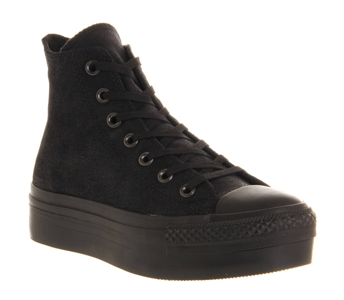 Converse all star hi platform black satin trainers shoes