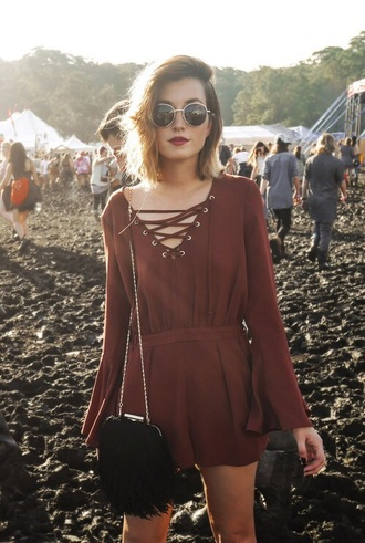 dress burgundy dress lace up top romper cool